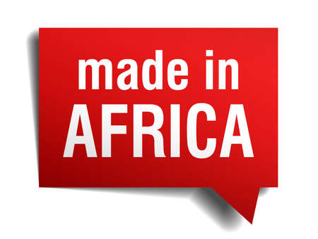 made in Africa red 3d realistic speech bubble isolated on white background Ilustrace