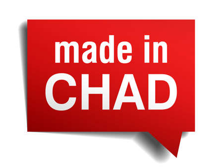 craft product: made in Chad red  3d realistic speech bubble isolated on white background