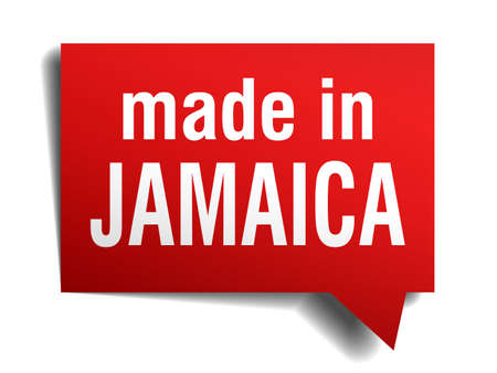 made in Jamaica red  3d realistic speech bubble isolated on white background Vector