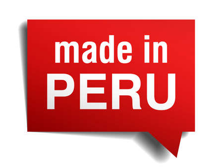 made in Peru red  3d realistic speech bubble isolated on white background Vector