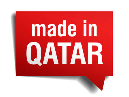 made in Qatar red  3d realistic speech bubble isolated on white background Vector