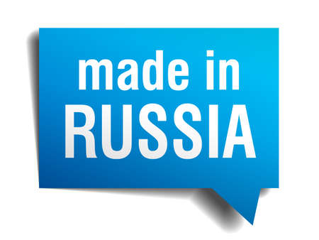 made in russia: made in Russia blue 3d realistic speech bubble isolated on white background Illustration
