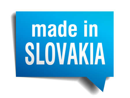 made in Slovakia blue 3d realistic speech bubble isolated on white background Vector