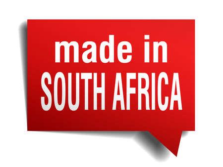 made in south africa red  3d realistic speech bubble isolated on white background Vector