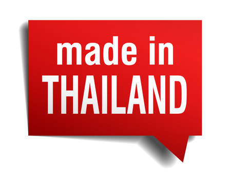 made in Thailand red  3d realistic speech bubble isolated on white background Vector