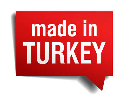 made in Turkey red  3d realistic speech bubble isolated on white background Vector