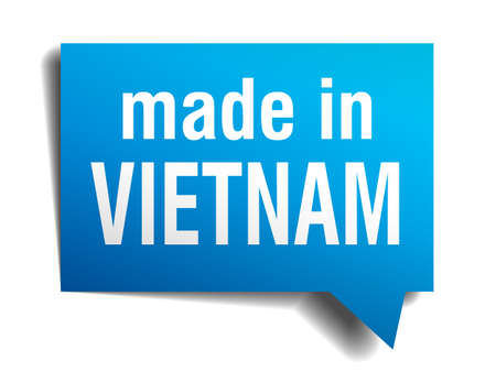made in Vietnam blue 3d realistic speech bubble isolated on white background Vector