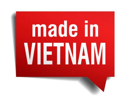 made in Vietnam red  3d realistic speech bubble isolated on white background Vector