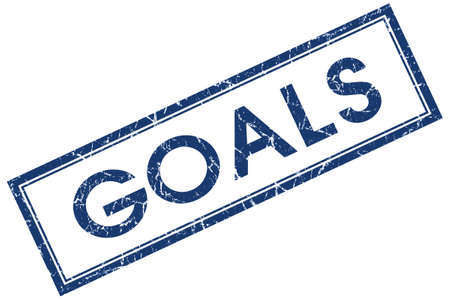 Goals blue square grungy stamp isolated on white background photo