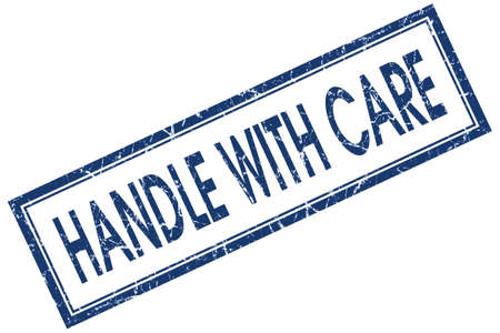 handle with care: Handle with care blue square grungy stamp isolated on white background