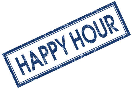 Happy hour blue square grungy stamp isolated on white background photo