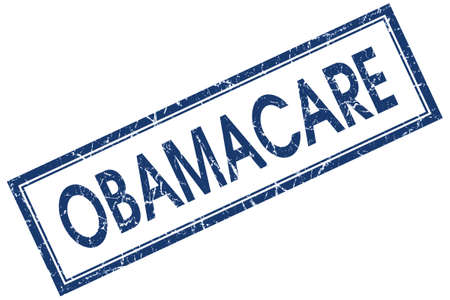 Obamacare blue square grungy stamp isolated on white background photo