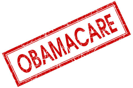 Obamacare red square grungy stamp isolated on white background photo