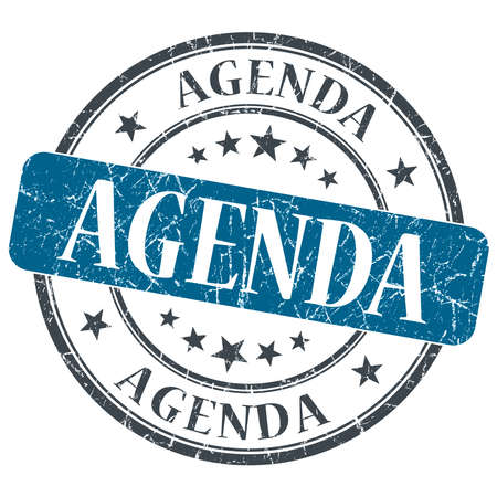 Agenda blue grunge textured vintage isolated stamp