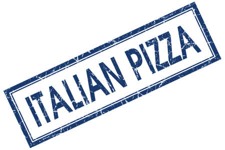 Italian pizza blue square grungy stamp isolated on white background photo