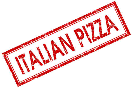 Italian pizza red square grungy stamp isolated on white background photo