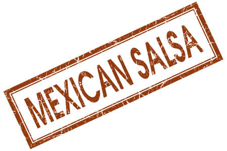 Mexican salsa brown square grungy stamp isolated on white background photo