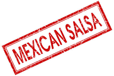 Mexican salsa red square grungy stamp isolated on white background photo