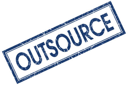outsource: Outsource blue square grungy stamp isolated on white background Stock Photo
