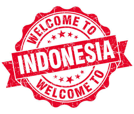 Welcome to Indonesia red grungy vintage isolated seal photo