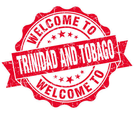 Welcome to Trinidad and Tobago red grungy vintage isolated seal photo