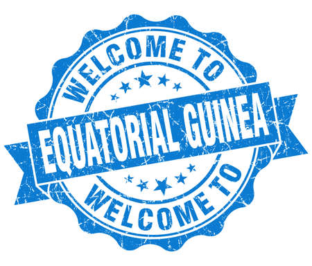 equatorial guinea: Welcome to Equatorial Guinea blue grungy vintage isolated seal Stock Photo