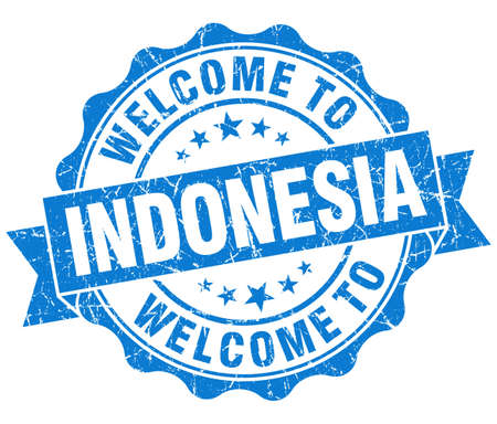 Welcome to Indonesia blue grungy vintage isolated seal photo