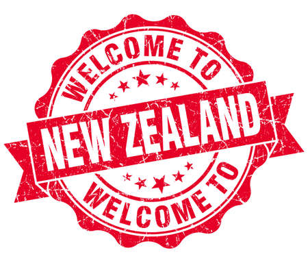 new zealand word: Welcome to New Zealand red grungy vintage isolated seal