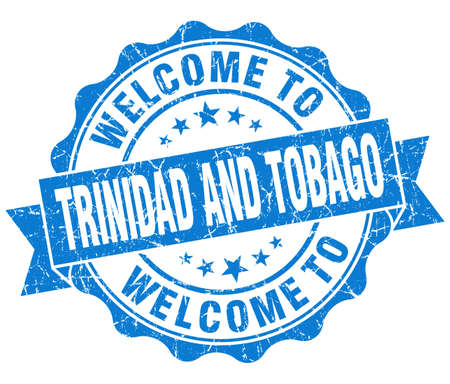 Welcome to Trinidad and Tobago blue grungy vintage isolated seal photo