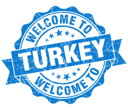 Welcome to Turkey blue grungy vintage isolated seal photo