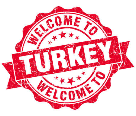 Welcome to Turkey red grungy vintage isolated seal photo