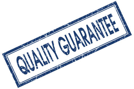 Quality guarantee blue square grungy stamp isolated on white background photo