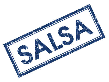 Salsa blue square grungy stamp isolated on white background photo