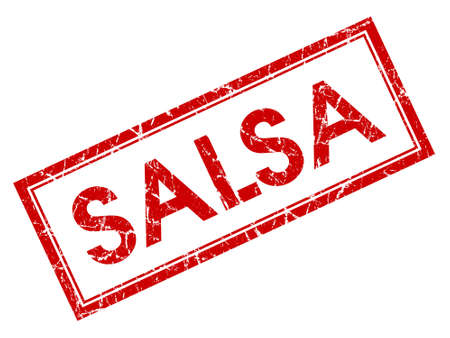 Salsa red square grungy stamp isolated on white background photo