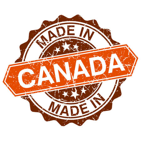 canada stamp: Made in Canada vintage stamp isolated on white background