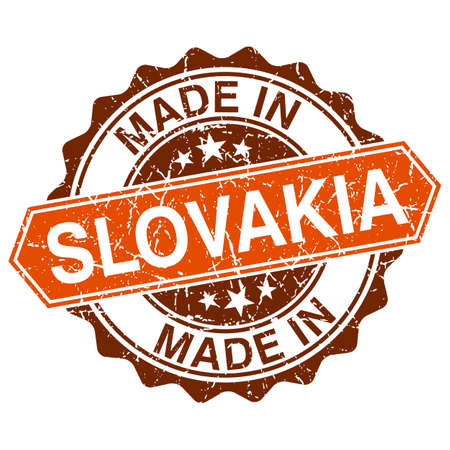 Made in Slovakia vintage stamp isolated on white background