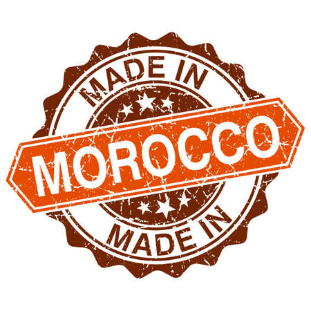 made in morocco: made in Morocco vintage stamp isolated on white background