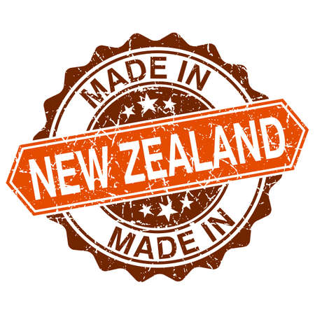 made in New Zealand vintage stamp isolated on white background