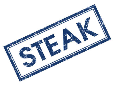 Steak blue square grungy stamp isolated on white background photo