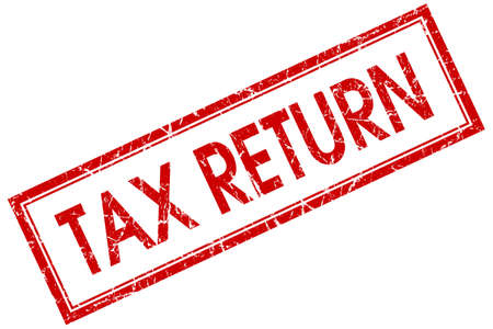 tax return: Tax return red square grungy stamp isolated on white background Stock Photo
