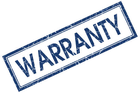 surety: Warranty blue square grungy stamp isolated on white background