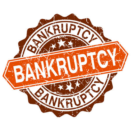 credit crisis: Bankruptcy grungy stamp isolated on white background