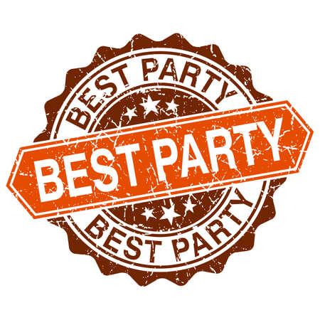 best party: Miglior partito grungy timbro isolato su sfondo bianco Vettoriali
