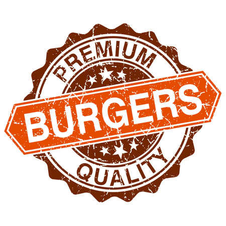 Burgers grungy stamp isolated on white background Vector