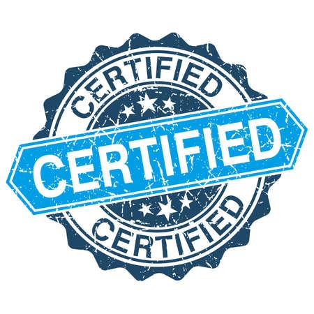 approbation: Certificato timbro grungy isolato su sfondo bianco