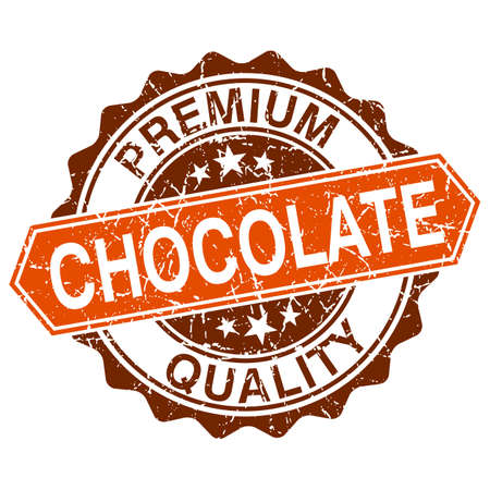 Chocolate grungy stamp isolated on white background Vector