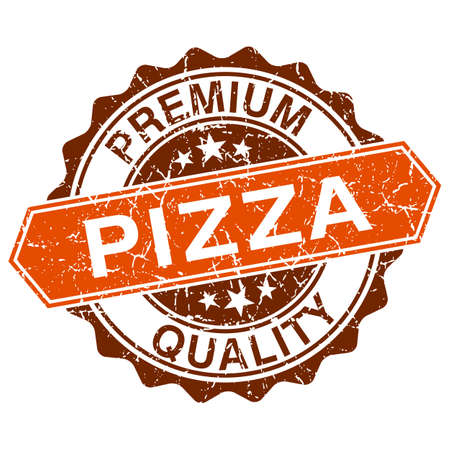 Pizza grungy stamp isolated on white background Vector