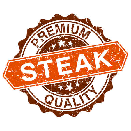 Steak grungy stamp isolated on white background Vector