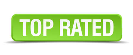 rated: top rated green 3d realistic square isolated button Illustration