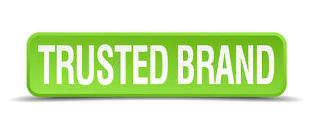 trusted: trusted brand green 3d realistic square isolated button Illustration